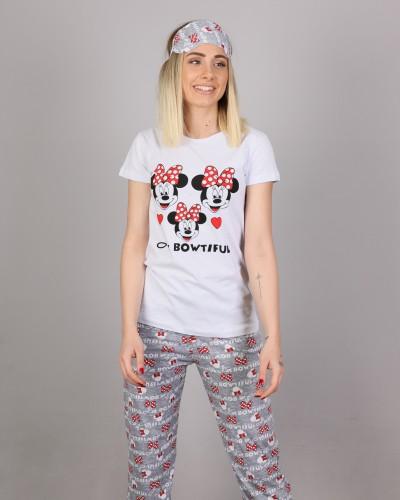 Beyaz Uyku Bantlı Mickey Pijama Takımı