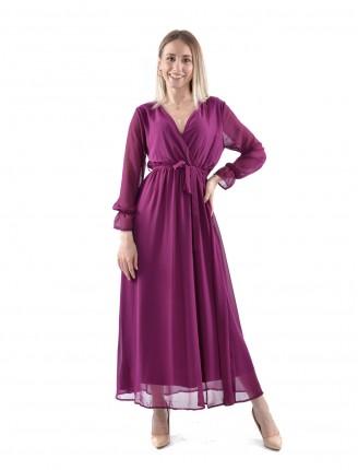 Kruvaze Yaka Uzun Şifon Elbise