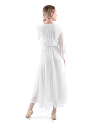 Beyaz Kruvaze Yaka Uzun Şifon Elbise