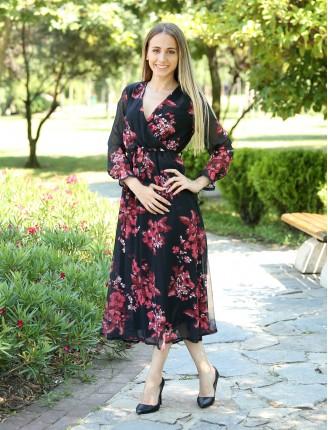 Siyah Kruvaze Yaka Çiçekli Uzun Şifon Elbise