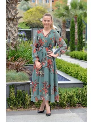 Yeşil Kruvaze Yaka Çiçekli Uzun Şifon Elbise