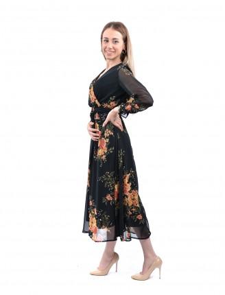Siyah Kruvaze Yaka Sarı Çiçek Elbise