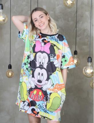 Siyah Mickey Baskılı Renkli Elbise