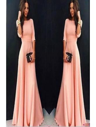 Pudra Maxi Uzun Kol Elbise 1035