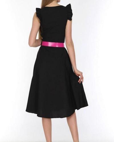 Siyah Omuz Fırfır Pembe Kemer Elbise