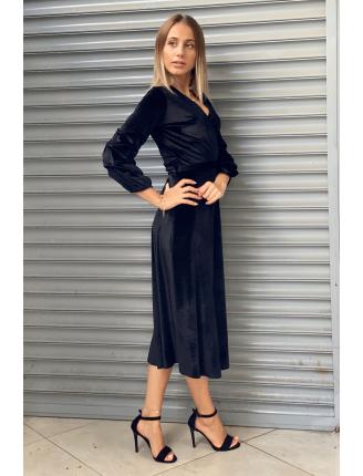 Kolu Büzgülü Kadife Midi Elbise