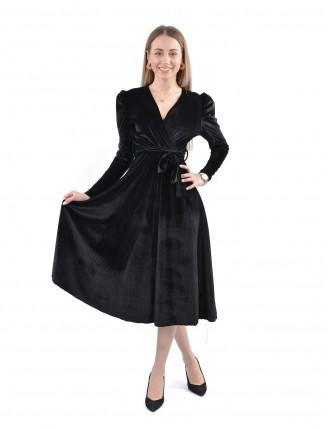 Kruvaze Yaka Vatkalı Kadife Elbise