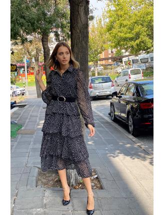 Kemer Detay Benekli Şifon Elbise