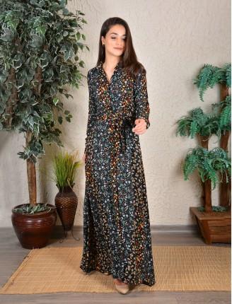 Karışık Kemerli Fistan Gömlek Elbise 3286