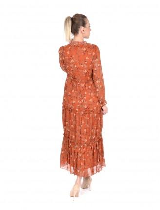 Kiremit Mine Çiçeği Uzun Şifon Elbise