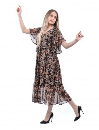 Siyah Çiğdem Çiçeği Şifon Elbise