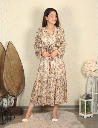 Yaka Fırfır Çiçekli Şifon Elbise