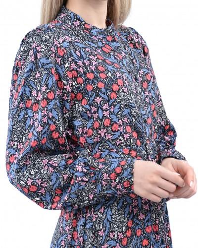 Siyah Vatkalı Kuşaklı Lale Gömlek Elbise