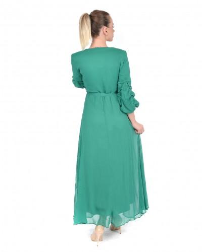 Yeşil Kruvaze Yaka Kolu Büzgülü Uzun Şifon Elbise