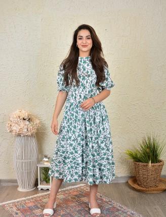 Yeşil Buket Geniş Elbise-SK513