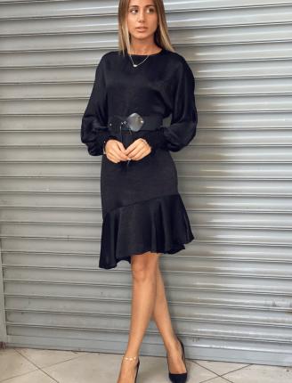 Kol Lastik Düz Saten Elbise-SK483