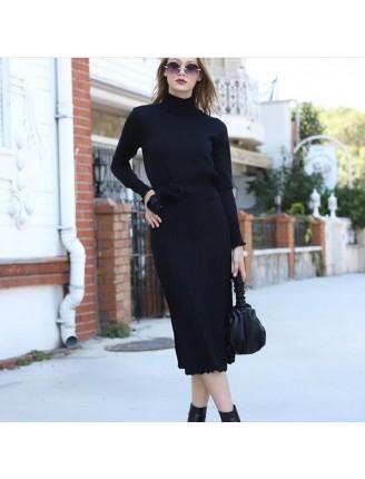 Fitilli Örme Kemer Detay Triko Elbise Siyah