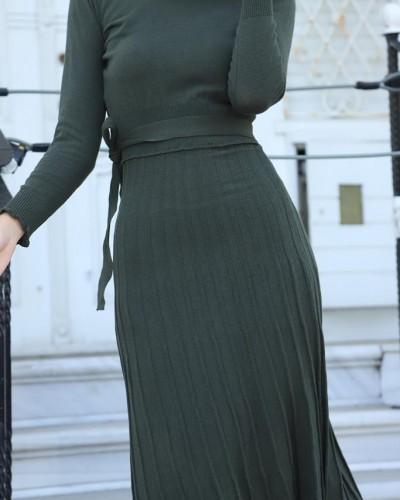 Fitilli Örme Kemer Detay Triko Elbise Haki
