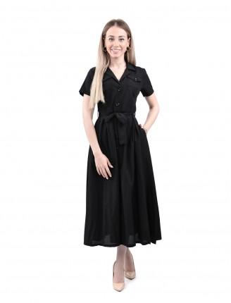 Siyah Poplin Kısa Kollu Elbise