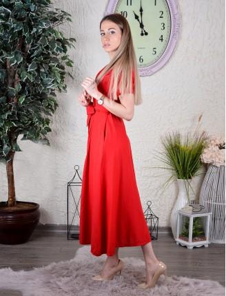 Kırmızı Poplin Kısa Kollu Elbise