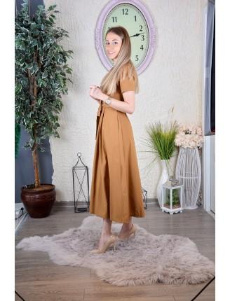 Hardal Poplin Kısa Kollu Elbise