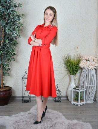 Uzun Kol Kemerli Elbise