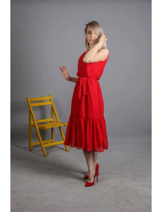 Kuşaklı Kolsuz Düz Şifon Elbise