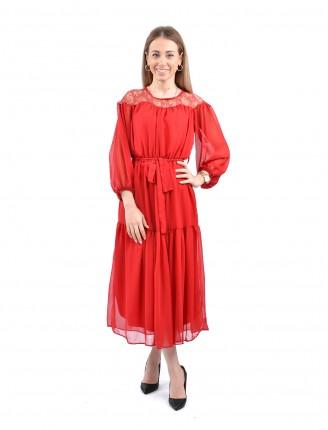 Kırmızı Transparan Yaka Şifon Elbise