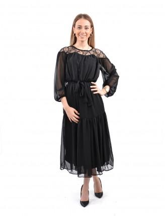 Siyah Transparan Yaka Şifon Elbise