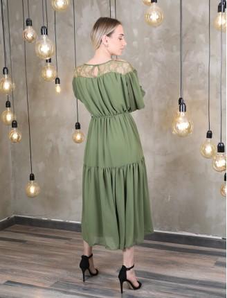 Çimen Transparan Yaka Şifon Elbise