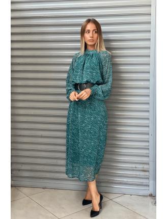 Kar Tanesi Kemerli Şifon Elbise-SK500
