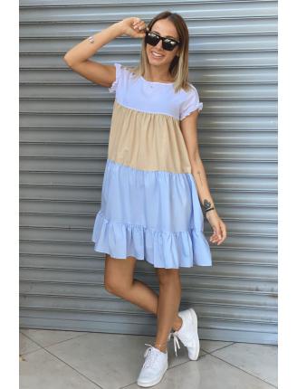 Renkli Parçalı Mini Elbise-SK544
