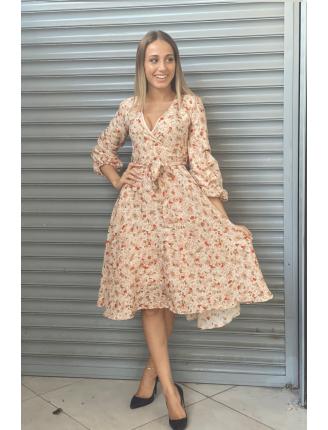 Kolu Büzgülü Renkli Desen Şifon Elbise-SK463