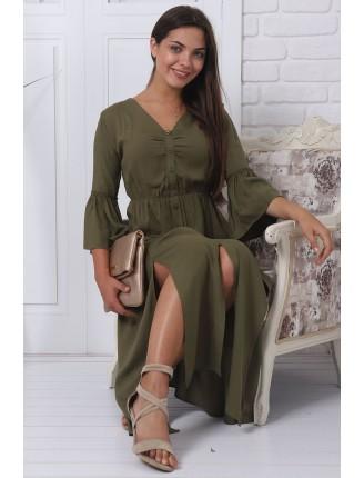 Haki Viskon Gömlek Elbise