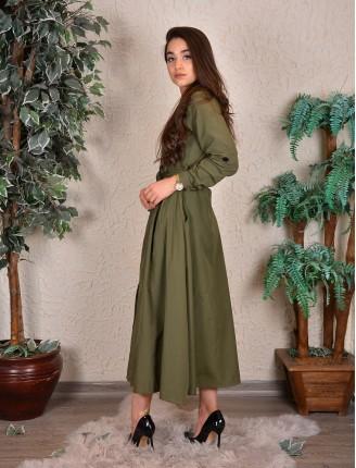 Poplin Uzun Kollu Gömlek Elbise