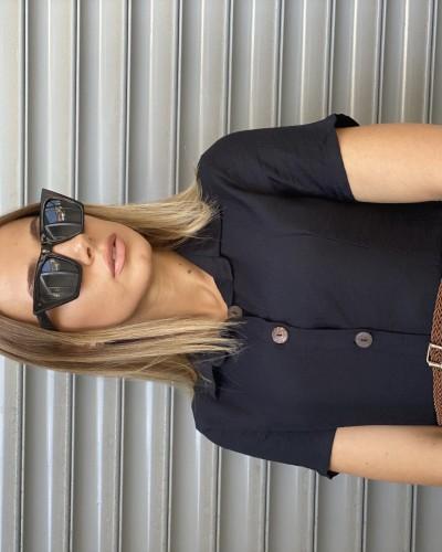 Gömlek Yaka Düğmeli Midiboy Elbise-SK523