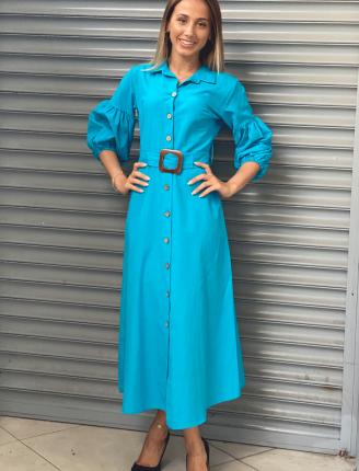 Balon Kol Düz Gömlek Elbise- Mavi