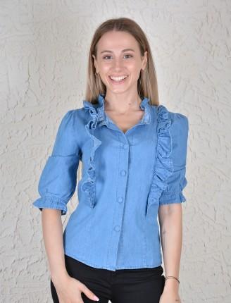 Fırfır Detay Kot Gömlek