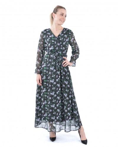 Lila Puantiyeli Güllü Uzun Şifon Elbise