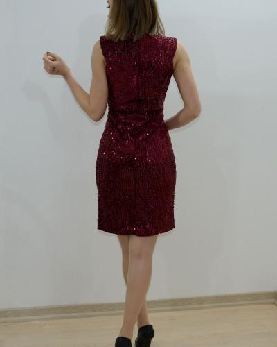 Bordo Payetli Kısa Kollu Mini Elbise