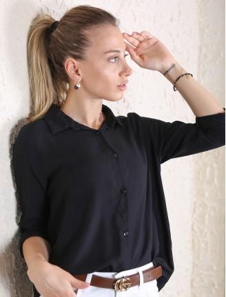 Siyah Fashion Düz Gömlek