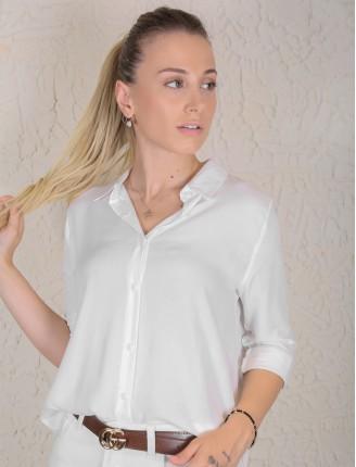 Beyaz Fashion Düz Gömlek
