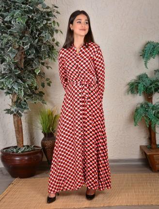 Kırmızı Pitikareli Gömlek Elbise