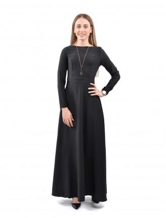 Siyah Maxi Uzun Kol Elbise 1035