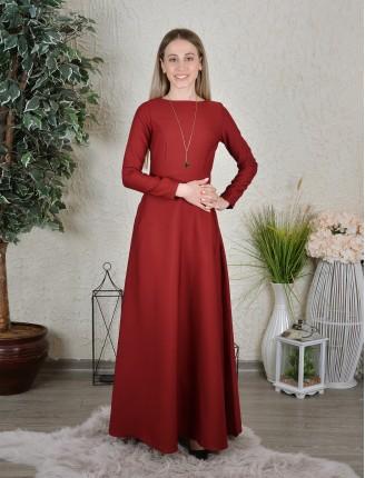 Bordo Maxi Uzun Kol Elbise 1035