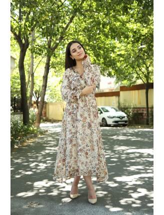 Kruvaze Yaka Astarlı Çiçekli Şifon Elbise