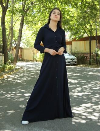 Lacivert Düz Gömlek Elbise