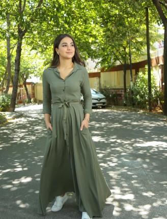 Haki Düz Gömlek Elbise