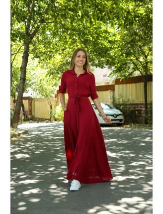 Bordo Düz Gömlek Elbise
