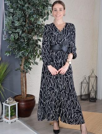 Siyah Damarlı Gömlek Elbise
